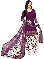 Raghavjee Sarees Women's Crepe Dress Material(Lcx6022_Purple Wine_Free Size)