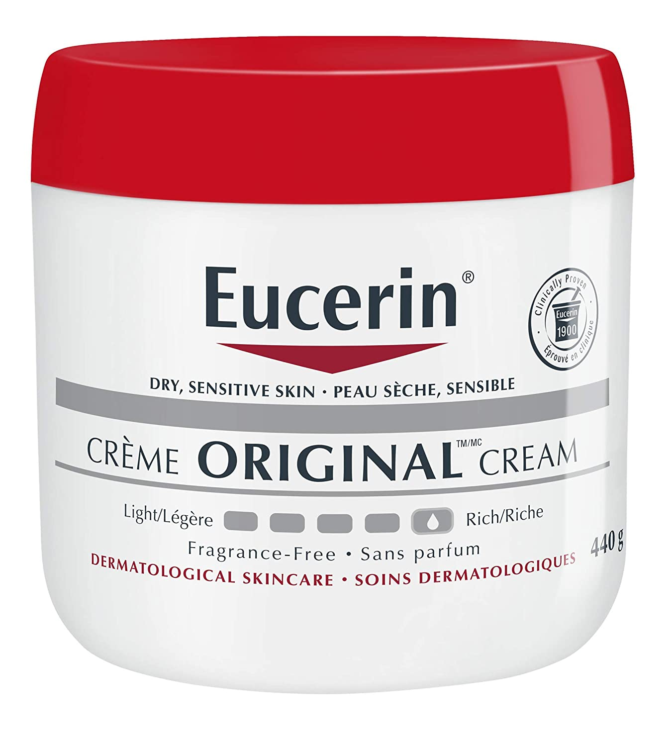 Eucerin Original Healing Cream - Fragrance Free, Rich Lotion for Extremely Dry Skin - 16 oz. Jar (Pack of 2)