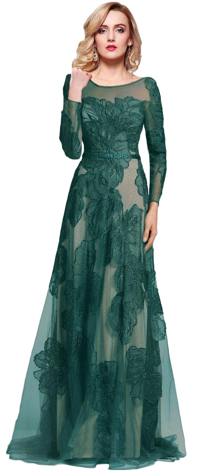 Meier Women's Long Sleeve Illusion Back Embroidery Lace Evening Dress Green Size 10