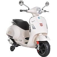 Homcom Scooter Moto électrique Enfants 6 V dim. 102L x 51l x 76H cm Musique MP3 Port USB klaxon Phare feu AR Blanc Vespa