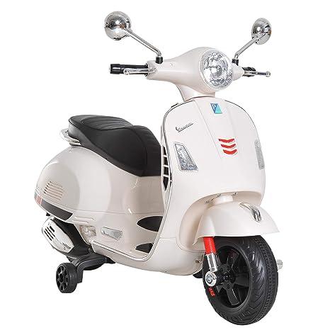 74ffa6fe23ca6 HOMCOM Moto Eléctrica Infantil Coche Triciclo Vespa Scooter Eléctrico a  Batería con Luz MP3 USB Bocina