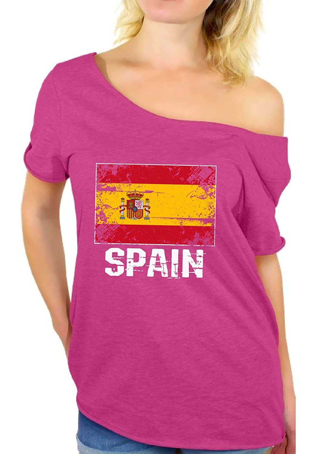 5c596e83 Amazon.com: Awkward Styles Spain Shirt Off Shoulder Spain Flag Tshirt Her  Spain Gifts: Clothing