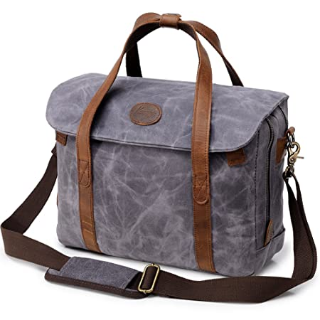 c36321956acf Mens Laptop Messenger Bag Waterproof Waxed Canvas Leather 14 inch Computer  Briefcase Shoulder Bag Women Vintage