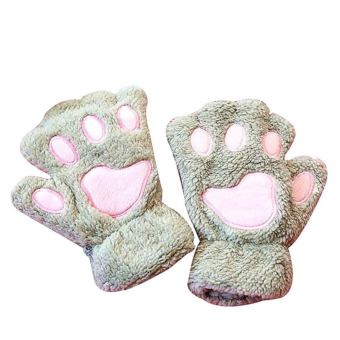Snner 1 par Medio Dedo del Oso de la Pata del Gato Garra de Espesor de Terciopelo Guantes Calientes Felpa del Invierno sin Dedos Guantes de Calor para los niños Lindos de Adultos (Brown)