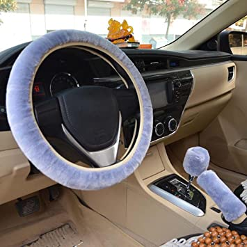 black, Automatic 3Pcs set Universal Winter Warm Faux Wool Steering Wheel Cover,Handbrake Cover,Gear Shift Cover Car Interior Accessories 14.96x 14.96 38cm