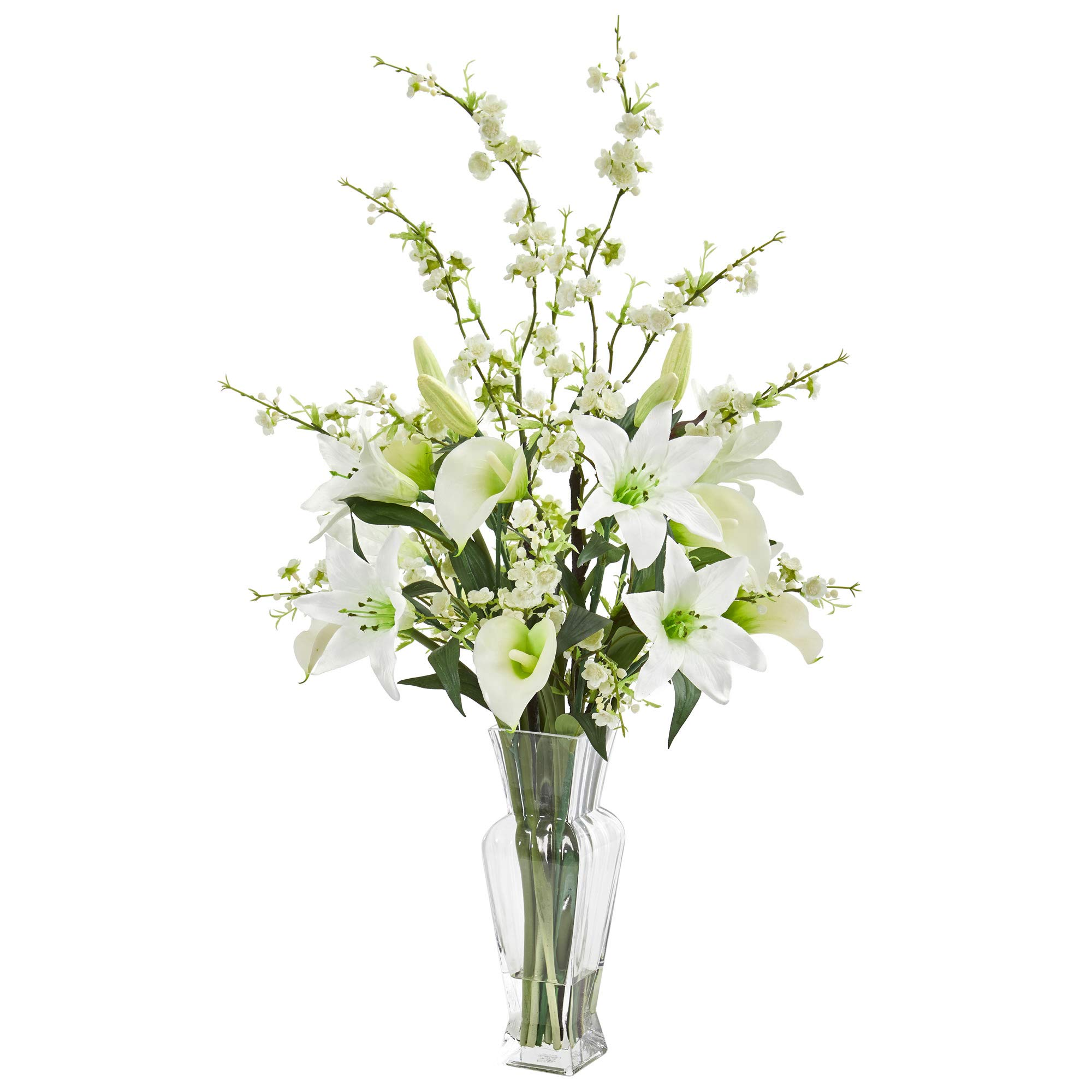 Nearly Natural 1776-WH Calla, Lily and Cherry Blossom Artificial Silk Arrangements, White by Nearly Natural