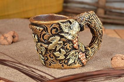 Botellero de terracota en forma de taza pintado original hecho a mano