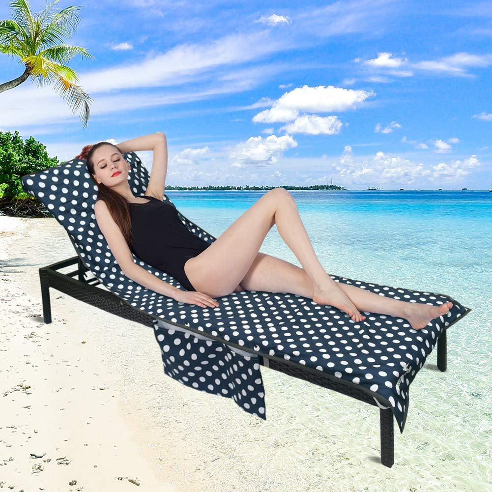 Runpilot Lounge Chair Cover Beach Towel with Pillow,Thickened Pool Lounge Chair Cover with Pockets Holidays Sunbathing Quick Drying Terry Towels
