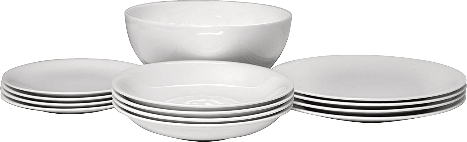 One Salad Serving Bowl in Bone China White AlessiAll-Time Table Set Composed of Four Dining//Side Plates Soup Bowls