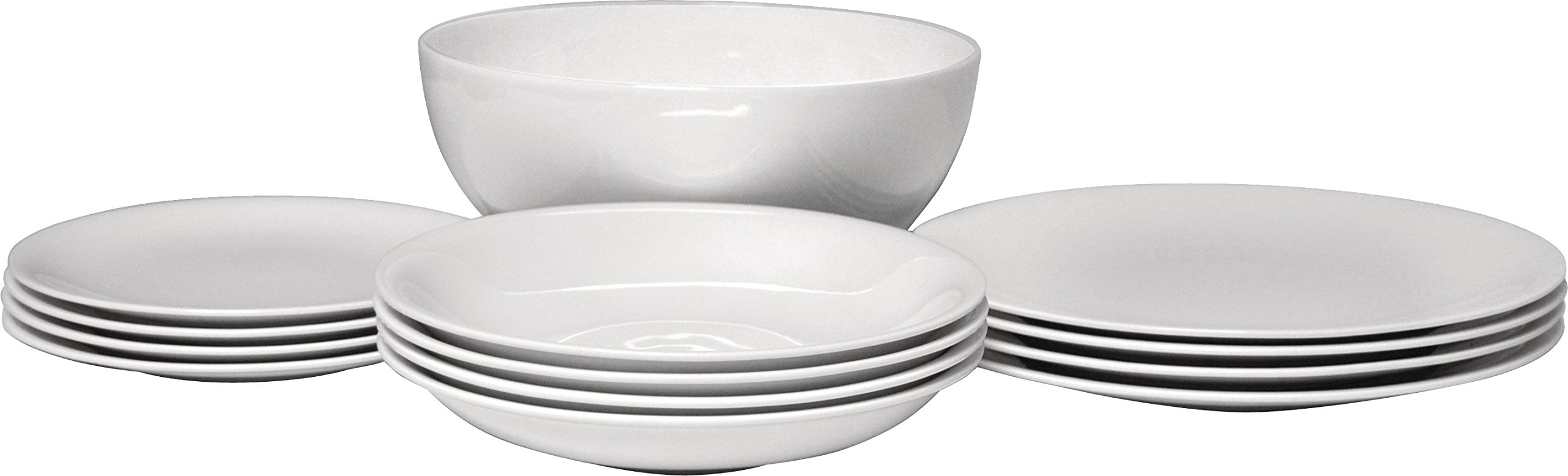 Alessi ''All-Time'' Table Set Composed of Four Dining/Side Plates, Soup Bowls, One Salad Serving Bowl in Bone China, White by Alessi