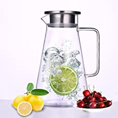 Glass Pitcher with Strainer and Lid, Tea, Coffee, Juice, Hot/Iced Water Carafe Jug