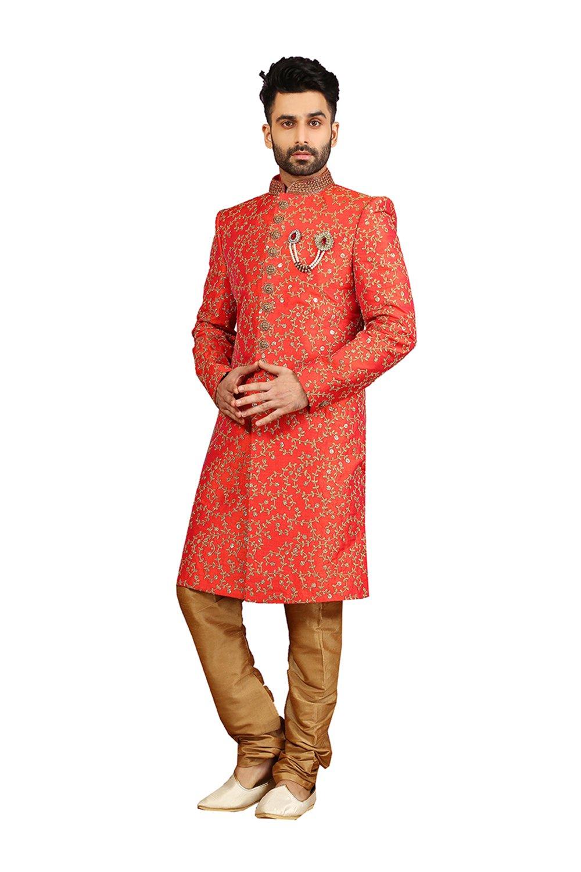 PCC Mens Indo Western Wedding Orange Designer Partywear Traditional R-25