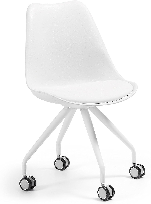 Kave Home - Silla de Oficina Ralf Blanca de Piel sintética y Patas de Acero con Acabado Blanco y Ruedas