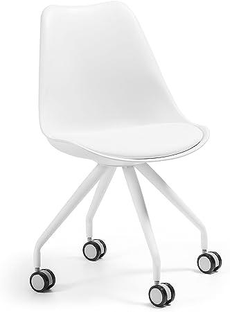 Kave Home Chaise de Bureau Ralf Blanche avec siège en Cuir synthétique et roulettes