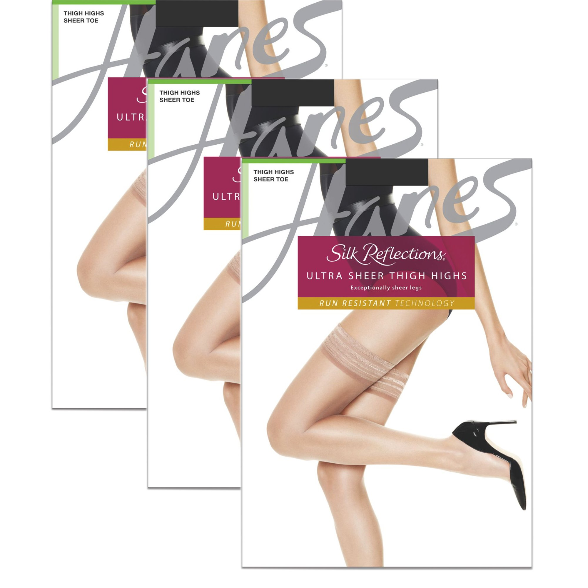 Hanes Wome`s Set of 3 Silk Reflections Women`s High Waist Control Top AB, Little Color