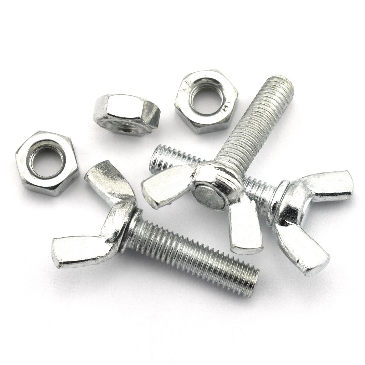 10 Pack M8x1.25'' Wing Bolt Sets 30mm Carbon Steel Zinc Plated Butterfly Screw with Hex Nut