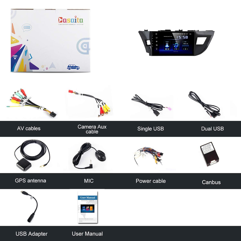 Dasaita Android 9.0 Car Audio Stereo Head Unit 10.2 GPS Navigation for Toyota Corolla 2014 2015 2016 Bluetooth Multimedia Car Radio Music Video Player Touchscreen Hexa Core 4G 64G DSP