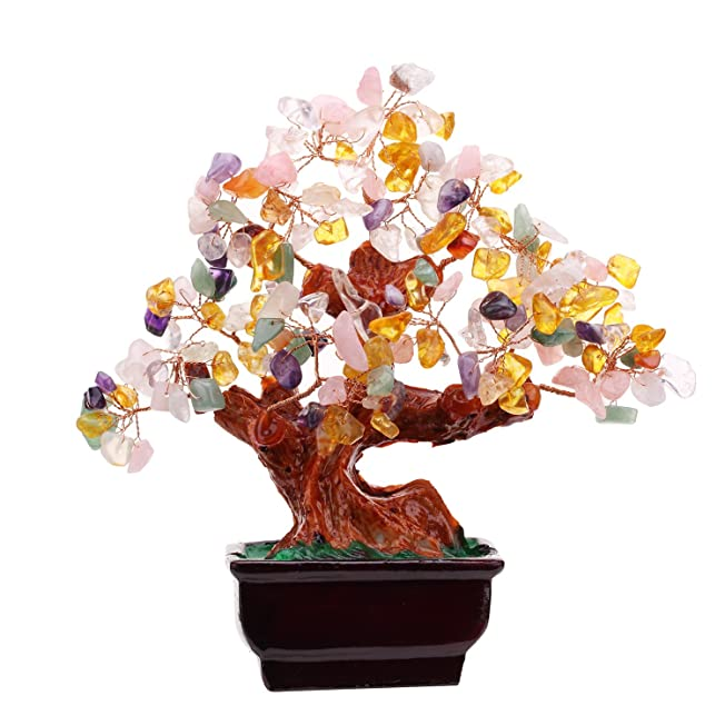 Multi Color Crysta Gem Stone Money Tree-amethyst Rose Quartz Citrine Carnelian Clear Quartz Feng Shui Money Tree