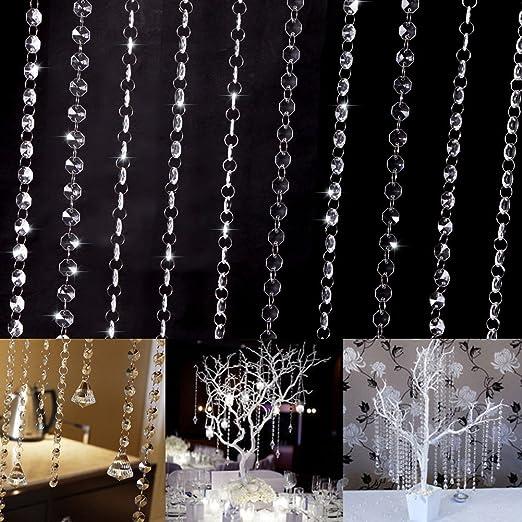 33ft 10M Wedding Diamond Acrylic Crystal Beads DIY Curtain Strands Garland Decor