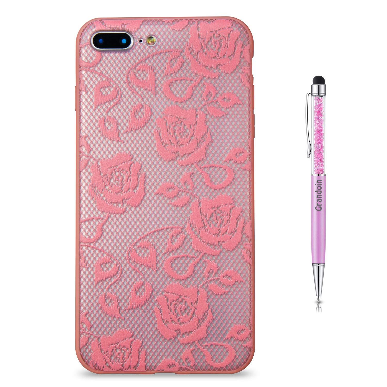 Grandoin iPhone 8 Plus Hü lle,iPhone 7 Plus Hü lle, 2 in 1 Ultra Dü nne Schale Luxus Ultra Dü nn Weich TPU Bumper Case Silikon Schutzhü lle fü r Apple iPhone 8 Plus/iPhone 7 Plus (Schwarze Rose) GD-QXC-FDLS-0822053