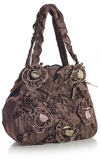 Big Handbag Shop Lightweight Ruffle Tiered Taffeta Fabric Wedding Summer Shoulder  Bag (Coffee) 925c9cfa6f100