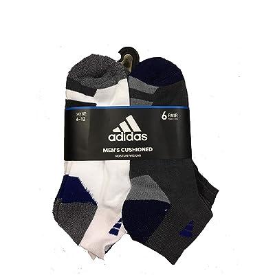 adidas 6 Pair Mens Low Cut Socks Large (White/Royal/Grey): Sports & Outdoors