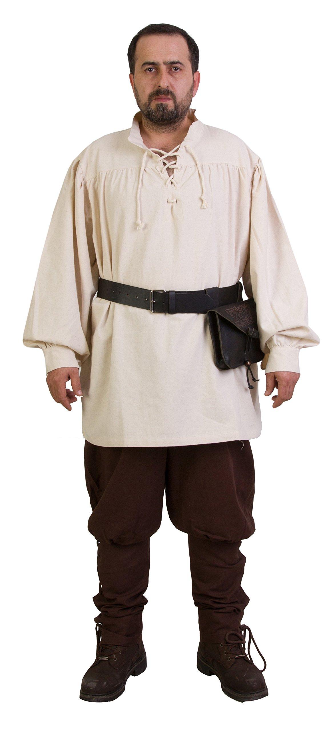 byCalvina - Calvina Costumes ERMES Medieval Viking LARP Pirate Cotton Man Shirt - Made in Turkey-Nat-2XL by byCalvina - Calvina Costumes (Image #2)