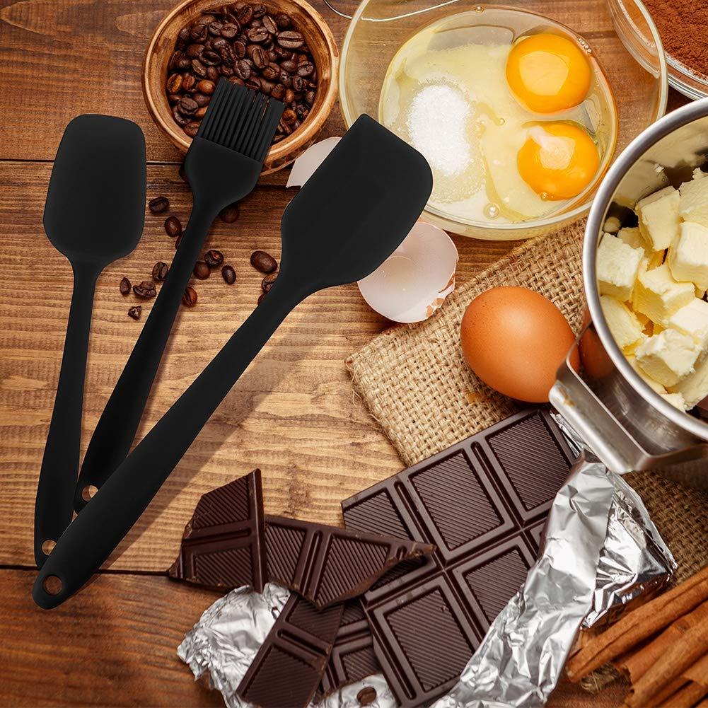 lovingmona Cooking Utensil Set Silicone Spatula Set Heat Resistant for Kitchen Cooking Cake Baking Mixing 5 Pieces Black