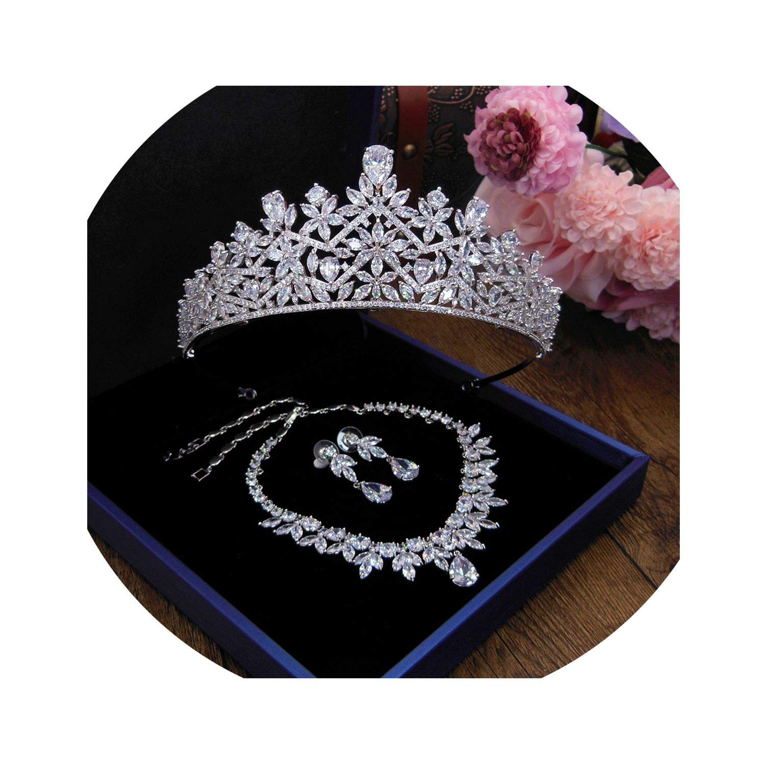 3A Cubic Zircon Wedding Crown Crowns Bridal Hair Accessories,Wigo1327-St 1Set