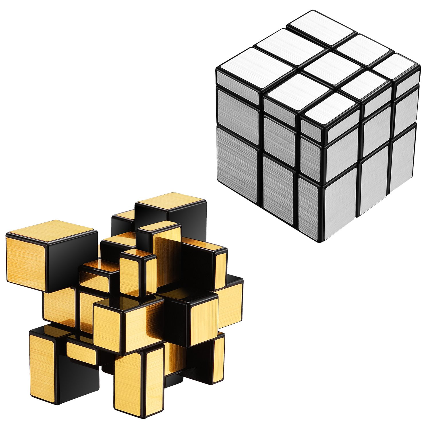 Mirror Speed Cube Puzzle 3x3x3 Gold and Silver Mirror Magic Cube Set 2 Pack for Kids by Ganowo