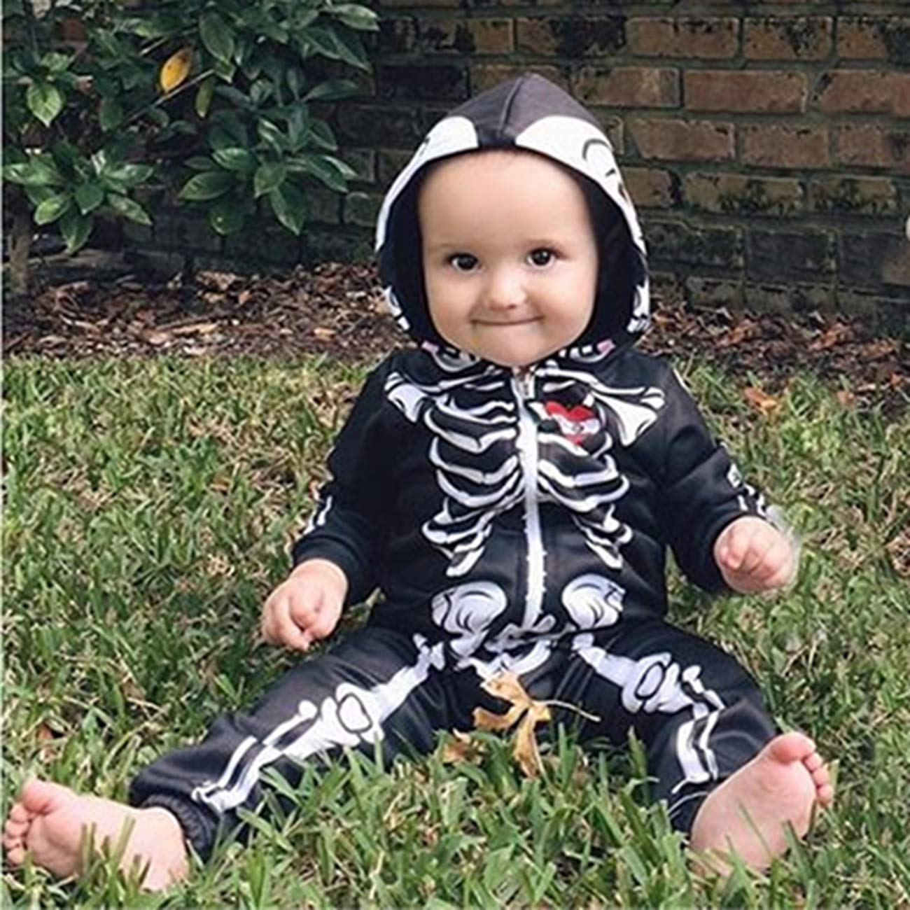 SERAPHY Unisexe Halloween v/êtements de b/éb/é /à Capuche b/éb/é gar/çon Barboteuse b/éb/é Fille Squelette Cosplay Costume avec Fermetures /à glissi/ère Chaude b/éb/é Robe Polaire