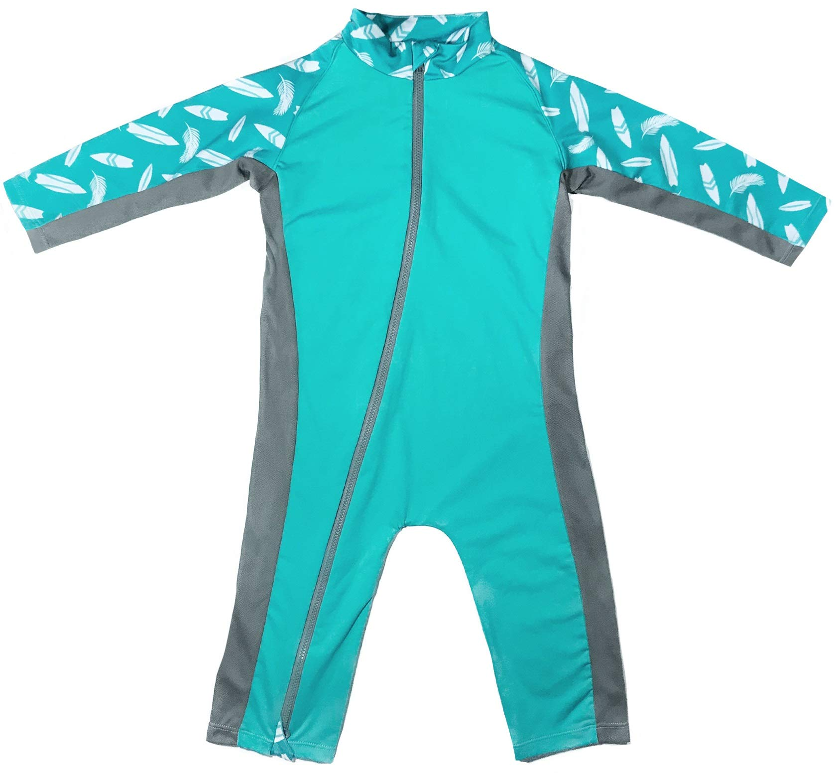 Stonz Premium Rash Guard Rashguard Sun Suit for Active Baby Boy Girl Long Sleeve UPF 50+ Swim Suit Top Sun Protection for Beach Pool Play, Teal Surf 12-18 Months by Stonz