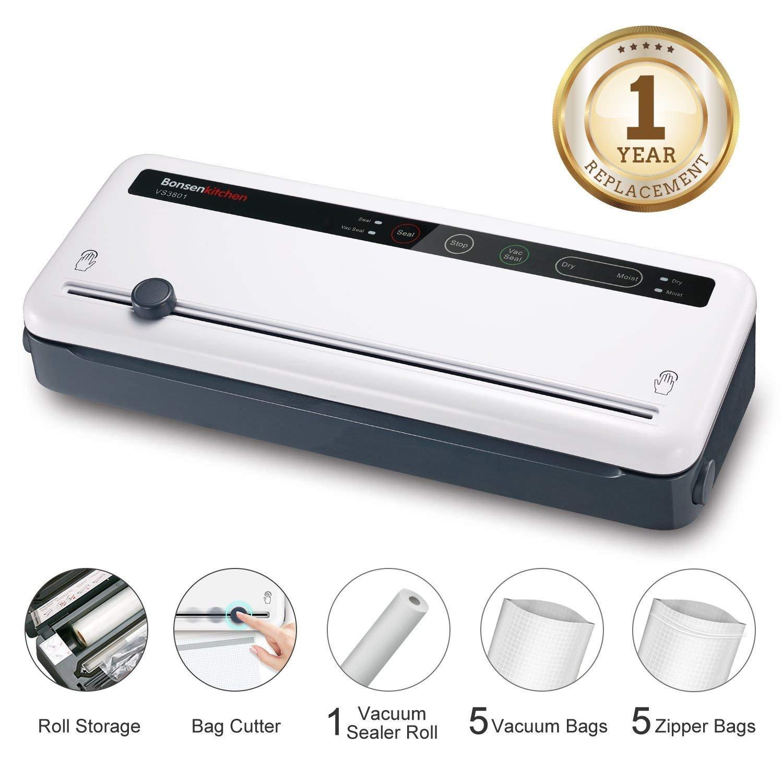 Machine Sous Vide Appareils de Mise Sous Vide Système Bonsenkitchen, garde les aliments secs et humides frais, y compris 1 rouleau de film sous vide, blanc VS3801