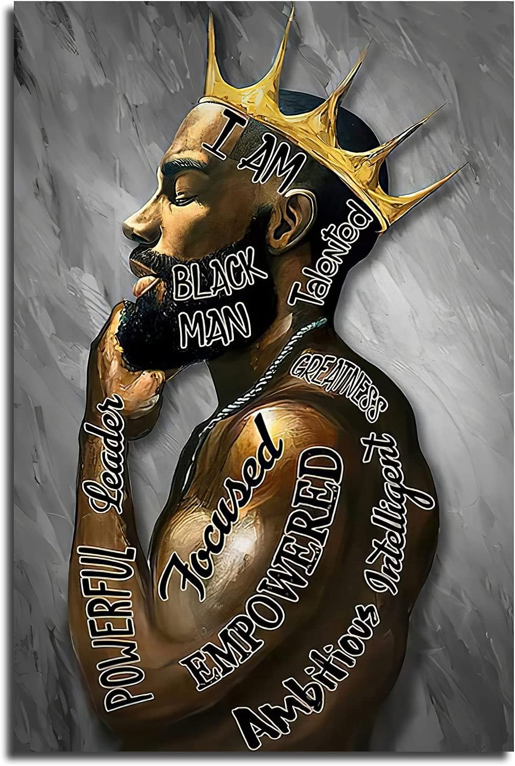 Black Men African American Men Portrait Wall Art Black Men I Am Enough Art Afro King Poster Abstract Contemporary Canvas Prints Painting Home Decor For Bedroom Living Room 12X16 Inch No Frame