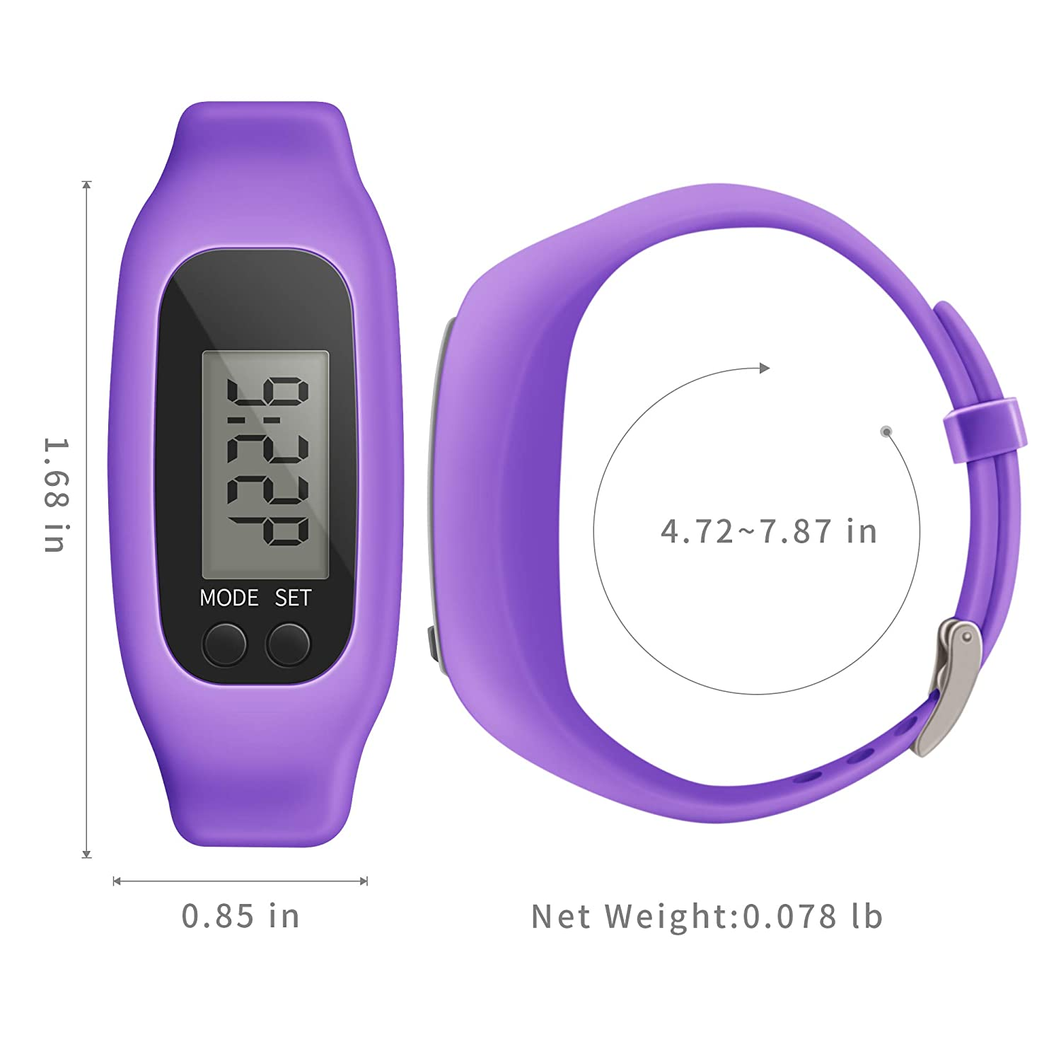 Bomxy Fitness Tracker Watch Simply Operation Walking Running Pedometer with Calorie Burning and Steps Counting