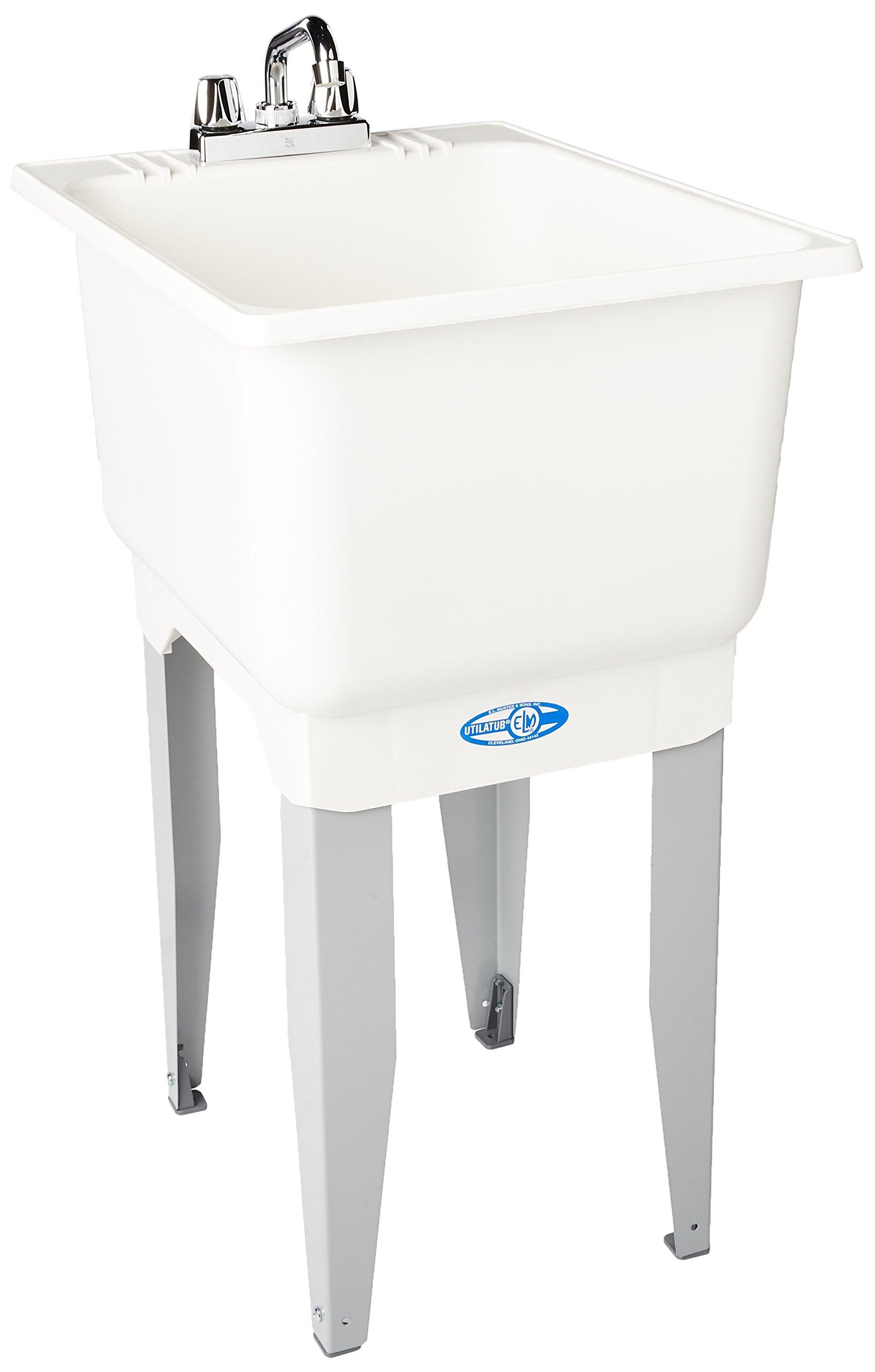 El Mustee 12C Utilatub 15-Gallon Floor-Mount Combo Laundry/Utility Tub, 33 X 18 X 23-1/2 In, White