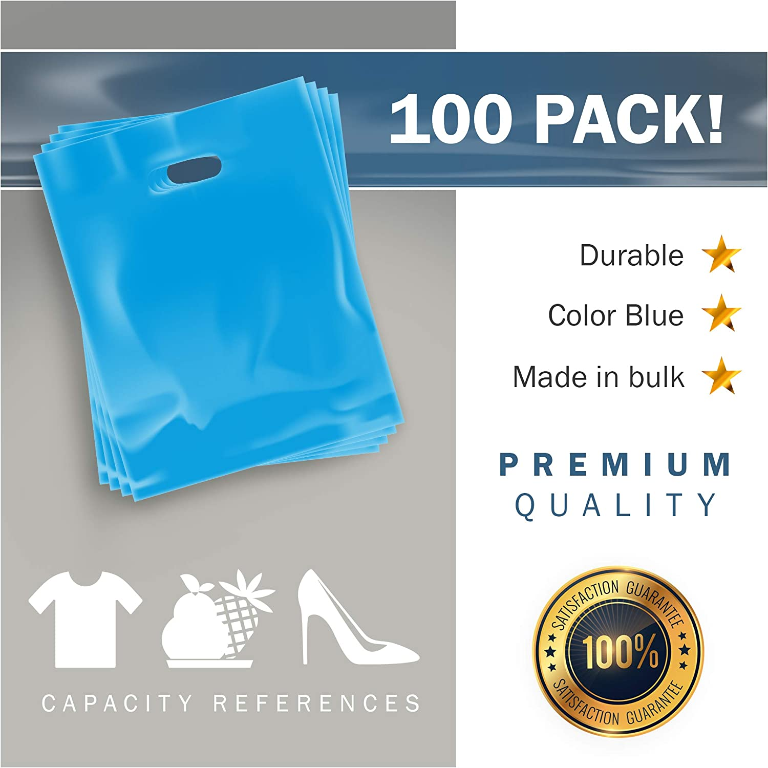 100 Pack 12 x 15 with 1.5 mil Thick Party Favors Die Cut Handles Children Parties Color Blue Blue Merchandise Plastic Shopping Bags 100/% Recyclable Perfect for Retail Birthdays