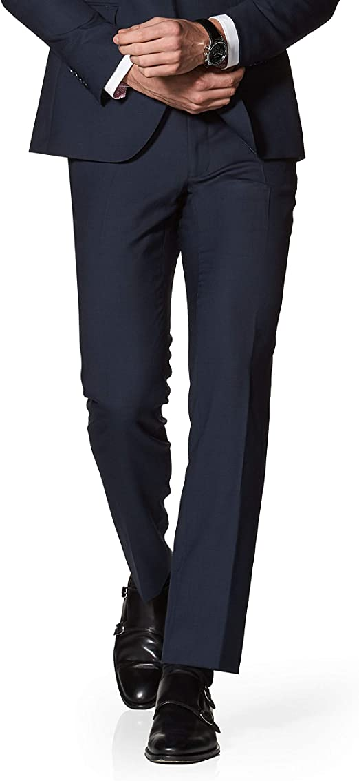 T.M.Lewin Designed in Biella Turner Navy Semi Plain Slim Fit Trousers