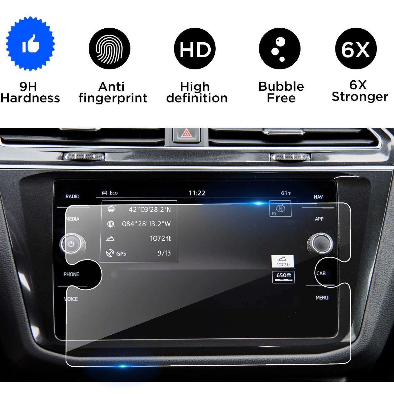 "Accessories Compatible with 2018 2019 Volkswagen Tiguan,Tempered Glass Screen Protector for Volkswagen Tiguan,Wonderfulhz,9H Hardness,Anti Fingerprint,High Definition,Volkswagen 8/"" Car Center Touch Sc"