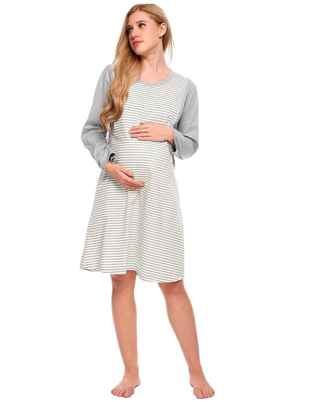 Aimado Women\'s Maternity Nursing Nightgown Long Sleeve Cotton ...
