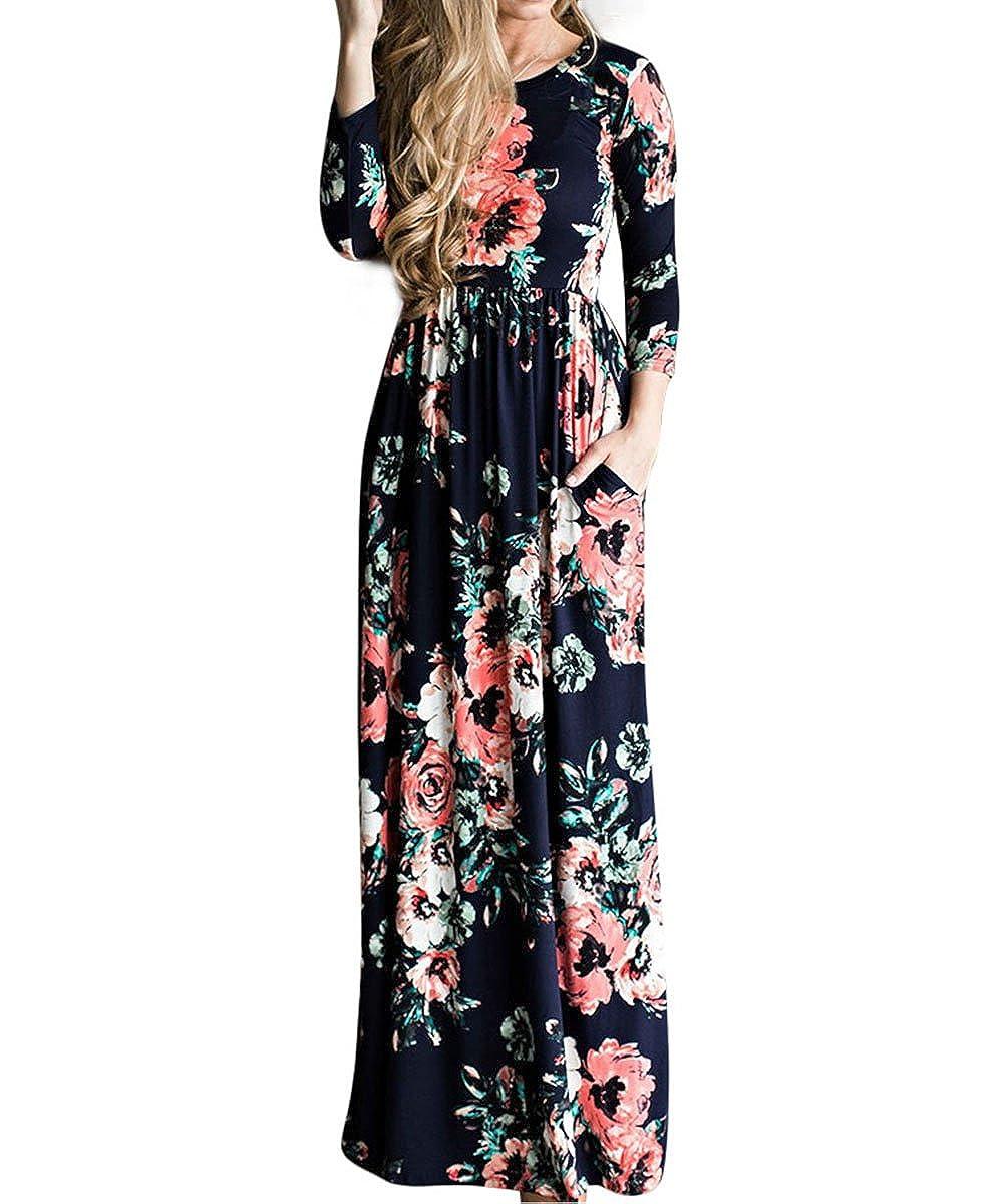 70s Dresses – Disco Dresses, Hippie Dresses, Wrap Dresses YUMDO Womens Line Striped Sleeveless Tank Casual Stretch Maxi Long Dress $20.99 AT vintagedancer.com