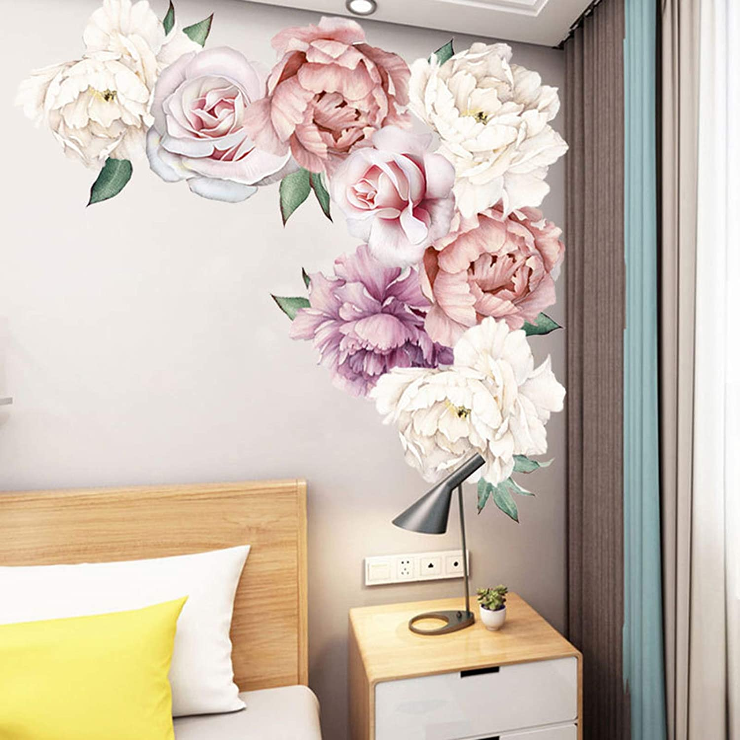 Peony Wall Decals Flowers Wall Stickers, Peonies Roses Floral Wall Posters Delicate Flowers Wall Sticker, Vinyl Wall Decor for Bedroom Living Room Girls Room