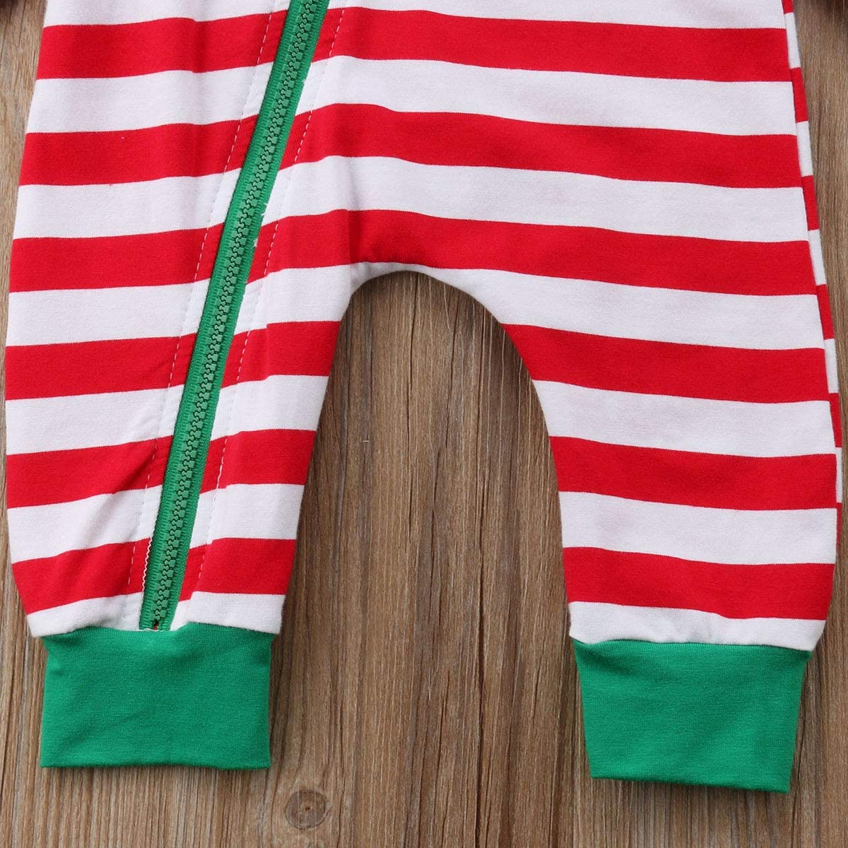 Mubineo Baby Girl Boy Christmas Elf Stripe Long Sleeve One Piece Romper Bodysuit Outfit