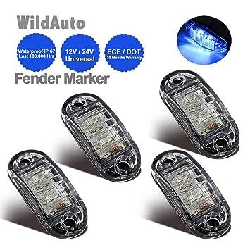 Luces Galibo 2,5 Pulgada WildAuto 2 LEDs 4 Pcs Para Cami/ón Remolque 12 V//24 V Led Cami/ón Luces De Posicion Lateral Oval
