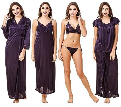 Fasense Satin Nightwear 6 Pc Set of Nighty 545d30d46
