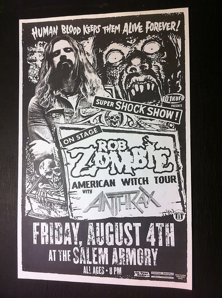 Amazon.Com: Rob Zombie Anthrax White Zombie Rare Salem Armory