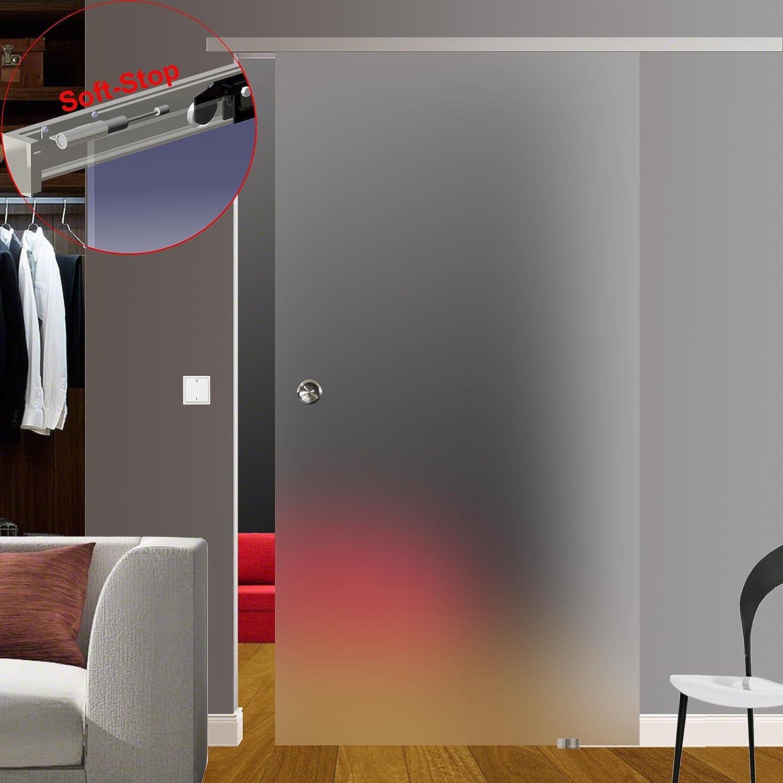 Puerta Corredera de Cristal puerta de cristal corredera puerta, satinado/satined opaca, deja pasar la luz con herrajes de aluminio, incluye Soft de Stop Slimline o sistema de cierre suave, autocierre y mango,