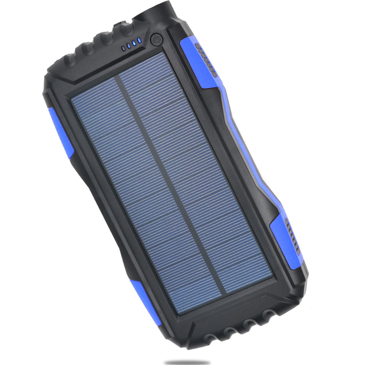 Portable Solar Charger TOENNESEN Power Bank Charger 25000mAh Capacity with LED Flashlight/2 USB Ports for Smartphone/iPhone/Samsung Galaxy/iPad/GoPro Camera/GPS(black+blue)