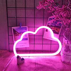 Pink Cloud Neon Light Cloud Neon Night Lamps LED Neon Light Signs Battery or USB Powered Neon Night Lights Pink Cloud Light up Wall Decor Light for Kids Room Bedroom Bar Christmas Wedding Party