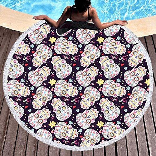 2018 Beach Towel Round Skelton- Yoga Blankets Oversized Adul